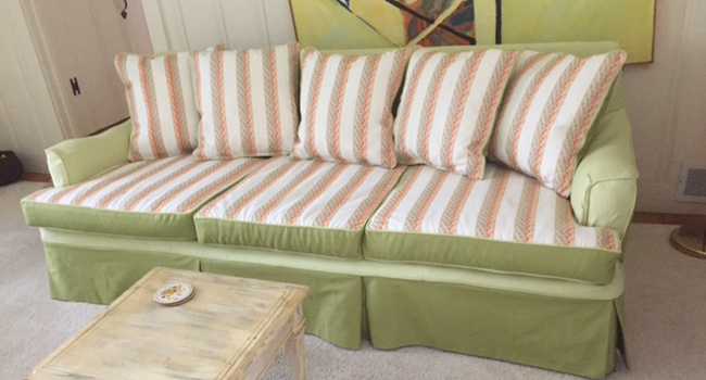 Custom reupholstery work on Cape Cod by Fabric Creations